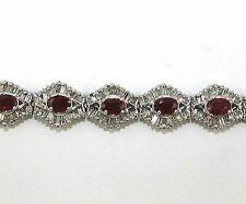 Allurez Diamond & Oval Cut Ruby Link Bracelet 14k White Gold