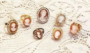 7 Piece Vintage and Modern Resin/Glass Cameo Fashion Ring Lot
