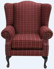 Chesterfield Saxon Queen Anne Mallory Wing Chair Balmoral Claret Red Tweed Wool