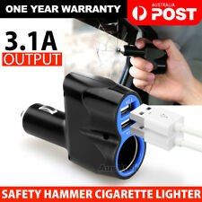 Dual USB Car Cigarette Lighter Safety Hammer Socket Splitter 12V Charger Adapter