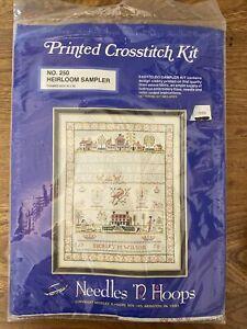 Needles 'N Hoops #250 Heirloom Sampler Kit Stamped Cross Stitch - BRAND NEW