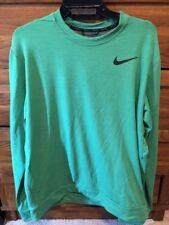 Sz L Nike Dri-Fit Fleece Pullover Long Crew Men's Training Top Green 742208-342