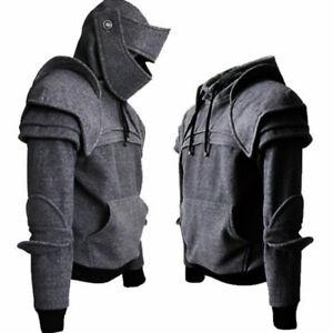 Men's Medieval Warrior Soldier Knight Armor Knee Sweater Jacket Hoodie Pullovers