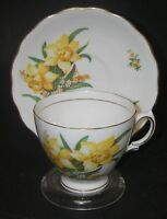 CUP SAUCER Royal Vale 4049 Bone China Ridgway Potteries Easter Daffodils/Gold