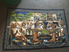 """Vintage Turkish Dogs Playing Poker Tapestry Wall Hanging Approx. 56"""" X 37"""""""