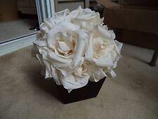Small Faux Flower Arrangement Cream Roses in Square Wood Planter Pot