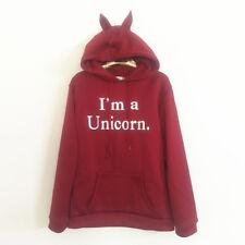 Women Ladies Unicorn Loose Long Sleeve Hooded Hoodie Pullover Sweatshirt Coat US