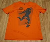 UMBRO T-Shirt Size Men's XL Short Sleeve Orange Soccer Big Logo Football 16/18