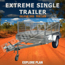 Strong 8x5 Extreme Single Axle Braked Cage Galvanized New Heavy Duty Trailer