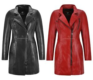Womans Leather Coat ELEGANT Collared Cross Zip Real Soft Leather 3/4 Long Jacket