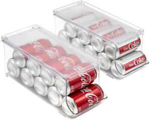 Clear Soda Can Organizer, Refrigerator Stackable Bin Dispenser with Lid - 2-Pack
