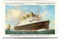 Vintage Postcard Cruise Line HOLLAND AMERICA Ship TSS STATENDAM