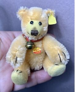 """Steiff Miniature Jointed Teddy Baby Golden Mohair Bear 3.5"""" W/ID So Cute NO Res"""