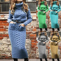 Turtleneck Long Sleeve Sweater Dress Women Winter Tunic Knitted Pullover Dresses