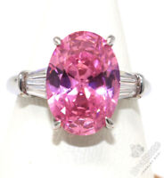 Large 2.5 CT Oval Pink Sapphire Ring Women Jewelry Gift 14K White Gold Plated