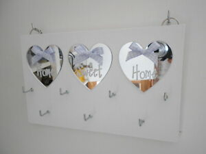 X-Large Key Holder Home Sweet Home, White, with Silver Mirror Hearts.