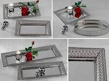 Spiegel Tablett  Romantik Silber Metall mit filigranem Durchbruchrand FORMANO