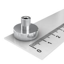 20x POWER NEODYM TOPF MAGNET, INNENGEWINDE M4, 16x5 mm, N38, SUPER MAGNETE