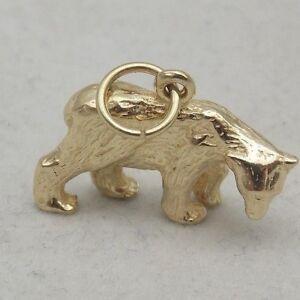 3D 9ct GOLD POLAR BEAR  CHARM