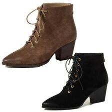 Women's Outdoor Lace Ups Pointy Toe Block Mid Heel Office Ankle Boots 40/41/42 L