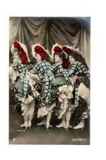 FRENCH RISQUE CAN CAN DANCERS, H MANUEL REAL PHOTO POSTCARD, HAND TINTED