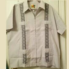 The Geniune Haband Guayabera Zip up Zipper 4 Pockets Shirt Mens Size 2XL XXL euc