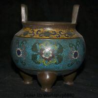 """6.4""""Qianlong Marked Old China Qing Cloisonne Enamel Bronze Incense Burner Censer"""