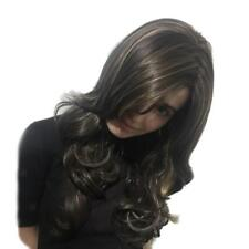 """Mixed Brown with Blonde Highlights Long Curly Wavy Wig 23"""" Heat Resistant"""