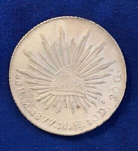 MEXICO MEXICO CITY MINT 1877-MoMH  8 REALES SILVER COIN, BORDERLINE UNCIRCULATED