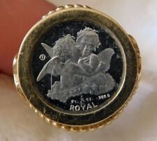 .999 PURE SILVER Cherub & Queen Coin in Two-Tone S/S + 14kt Gold Ring size 7
