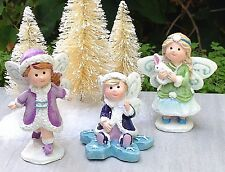Miniature Fairy Garden Mini Village ~ Frozen Christmas 3 Snow Fairies Figurine