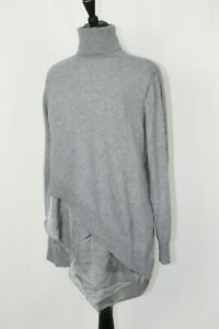 Soft Surroundings Turtleneck Sweater Tunic Gray Asymmetrical Layered L