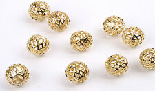 Exquisite Gold Plated Filigree Round Beads 10MM