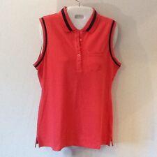 Nautica Women's Sleeveless Shirt Orange/Black Medium NWT
