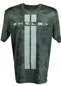 SHELBY LOGO WITH LEMANS STRIPES CAMO CARBON FIBER T-SHIRT FORD MUSTANG GT500