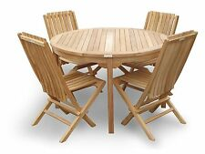 """Genuine Grade A Teak, 47"""" Round Table w/4 Folding Chairs w Lumbar Support"""