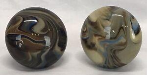 Pair Antique Porcelain Multi Color Brown Blue Ivory Swirl Doorknobs