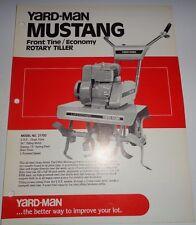 Yard Man Mustang 21700 Front Tine Rotary Tiller Sales Brochure Spec Sheet