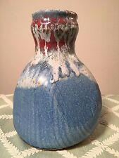 Unique Stuhlmann Pottery Vase (Vintage Art Original Red Blue White American USA)