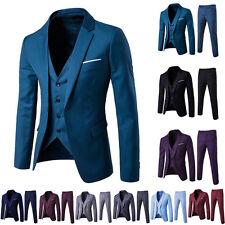 Mens Trendy  Formal Suit Set Groom Wedding Suit Slim Fit Tuxedo Jacket+Vest+Pant