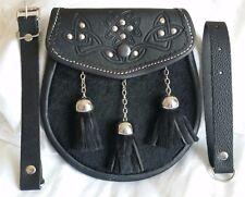 Original Black Cowhide Fur Scottish Kilt Sporran Leather & Metal Belt