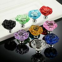 50MM Exquisite Rose Crystal Glass Door Knob Kitchen Drawer Cabinet Handle Pull