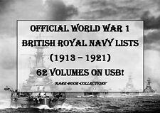 WORLD WAR 1 BRITISH ROYAL NAVY LISTS - USB - WW1 MEDAL RESEARCH MILITARY HISTORY