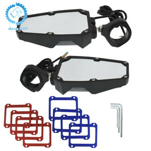 """Rear View Side Mirrors For UTV Polaris RZR Fit 1.75""""-2"""" Roll Cage w/ LED Lights"""