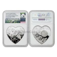 China 2016 Valentine Bamboo Panda 1 oz Silver Heart-shaped NGC PF69 UC with COA