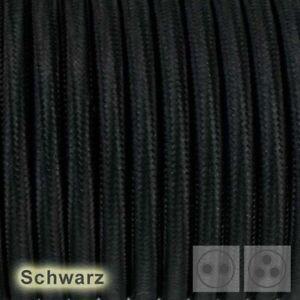 3-adrig Textilkabel  Stoffkabel pendelkabel  textile cable Schwarz 3x0,75 H03VV