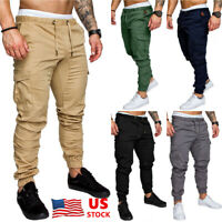 Men's Slim Pocket Urban Straight Leg Trousers Casual Pencil Jogger Cargo Pants