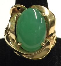 Beautifully Huge 13mm Oval Translucent Jade Ring in 14kt Yellow Gold Setting, NR