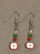 RED APPLE Earrings Surgical Hook New Fimo Crystal