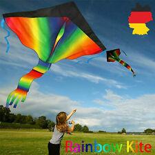 Rainbow Kite 100M Drachenschnur und Spannweite Großer Kinder Drachen 210T DE